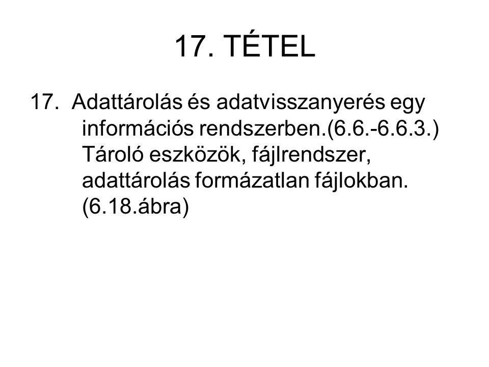 17. TÉTEL 17. Adattárolás és adatvisszanyerés egy információs rendszerben.(6.6.-6.6.3.) Tároló eszközök, fájlrendszer, adattárolás formázatlan fájlokb