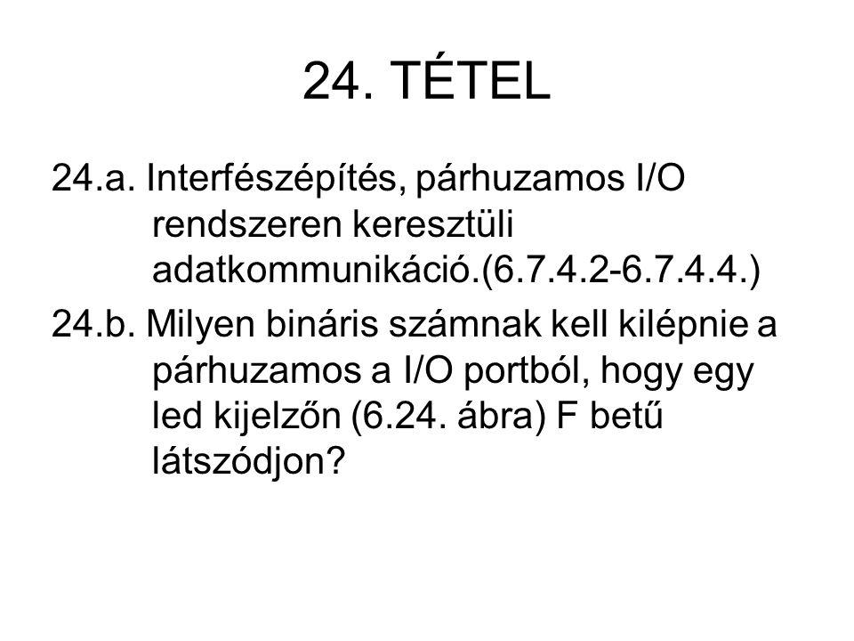 24. TÉTEL 24.a. Interfészépítés, párhuzamos I/O rendszeren keresztüli adatkommunikáció.(6.7.4.2-6.7.4.4.) 24.b. Milyen bináris számnak kell kilépnie a