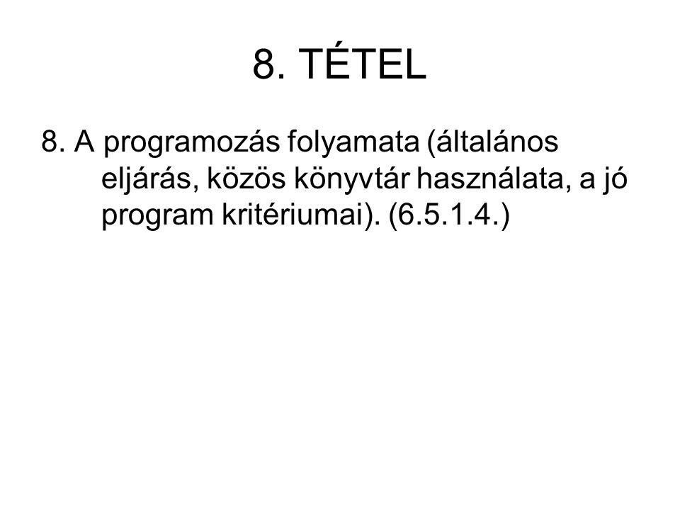 8. TÉTEL 8. A programozás folyamata (általános eljárás, közös könyvtár használata, a jó program kritériumai). (6.5.1.4.)