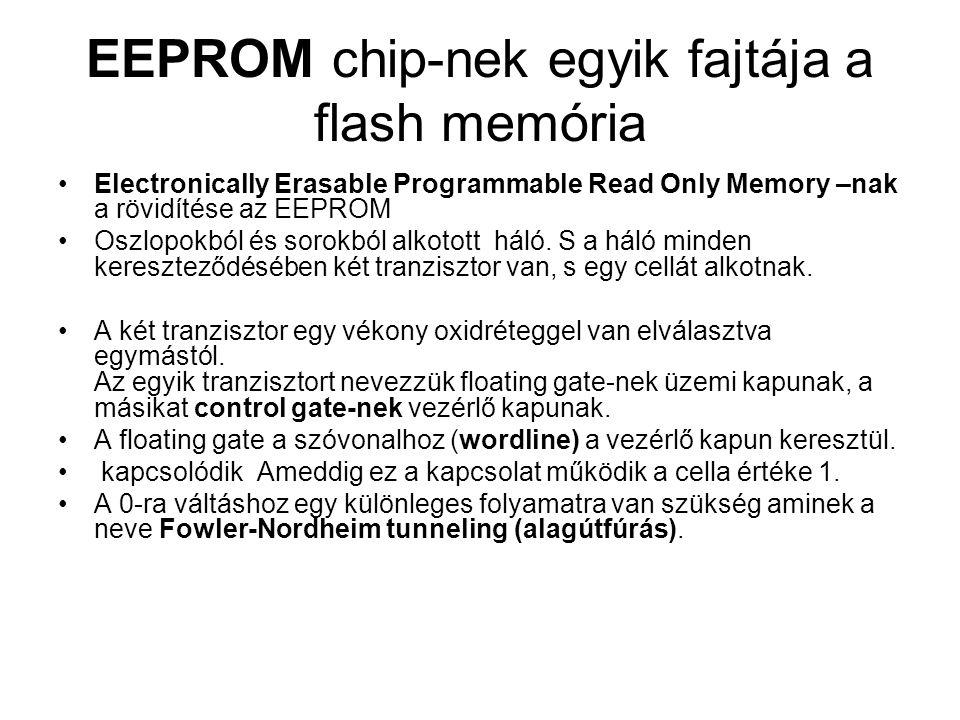 EEPROM chip-nek egyik fajtája a flash memória Electronically Erasable Programmable Read Only Memory –nak a rövidítése az EEPROM Oszlopokból és sorokbó