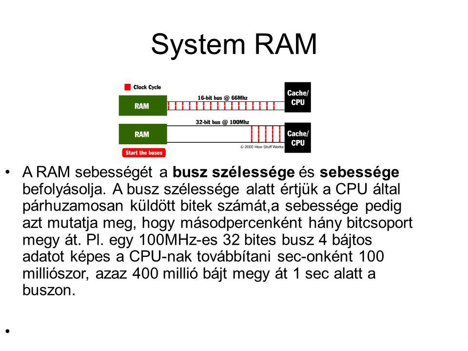 System RAM A RAM sebességét a busz szélessége és sebessége befolyásolja. A busz szélessége alatt értjük a CPU által párhuzamosan küldött bitek számát,
