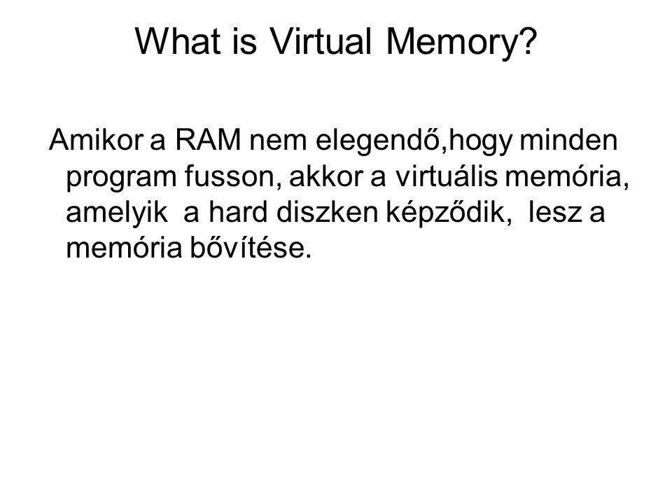 What is Virtual Memory? Amikor a RAM nem elegendő,hogy minden program fusson, akkor a virtuális memória, amelyik a hard diszken képződik, lesz a memór