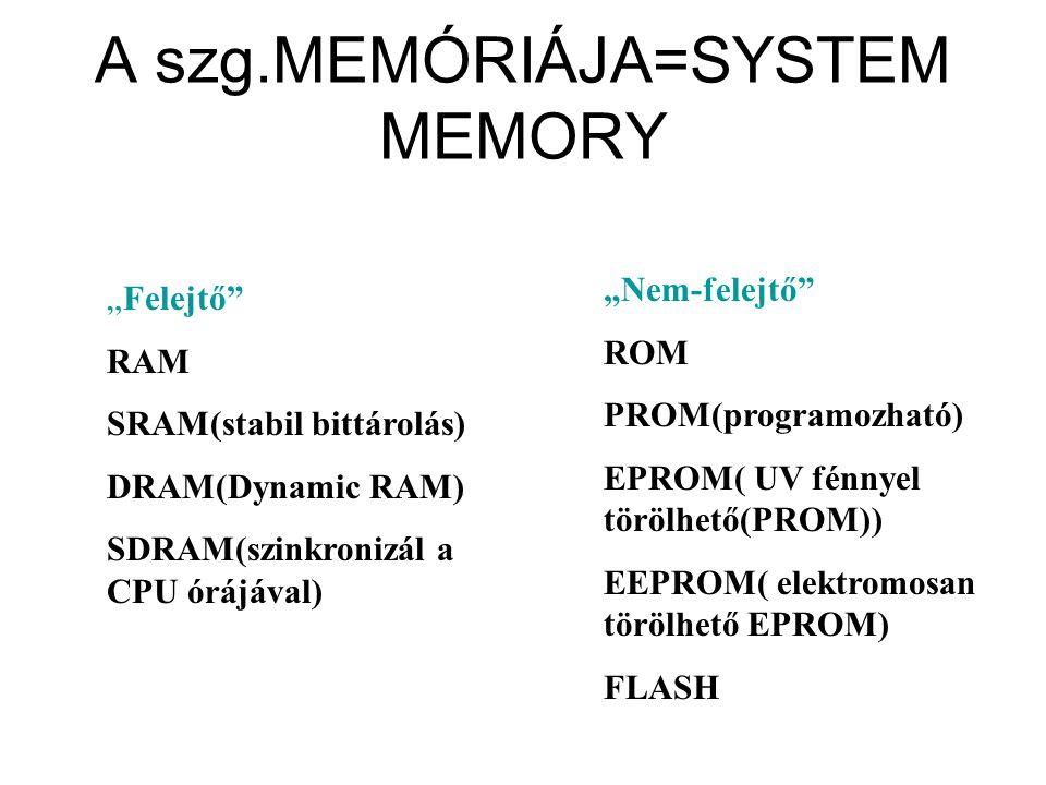 """A szg.MEMÓRIÁJA=SYSTEM MEMORY """"Felejtő"""" RAM SRAM(stabil bittárolás) DRAM(Dynamic RAM) SDRAM(szinkronizál a CPU órájával) """"Nem-felejtő"""" ROM PROM(progra"""