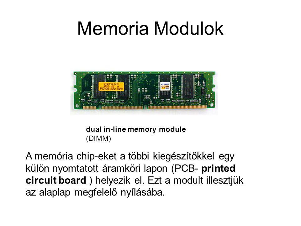 Memoria Modulok dual in-line memory module (DIMM) A memória chip-eket a többi kiegészítőkkel egy külön nyomtatott áramköri lapon (PCB- printed circuit