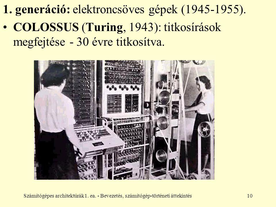Számítógépes architektúrák1. ea. - Bevezetés, számítógép-történeti áttekintés10 1. generáció: elektroncsöves gépek (1945-1955). COLOSSUS (Turing, 1943