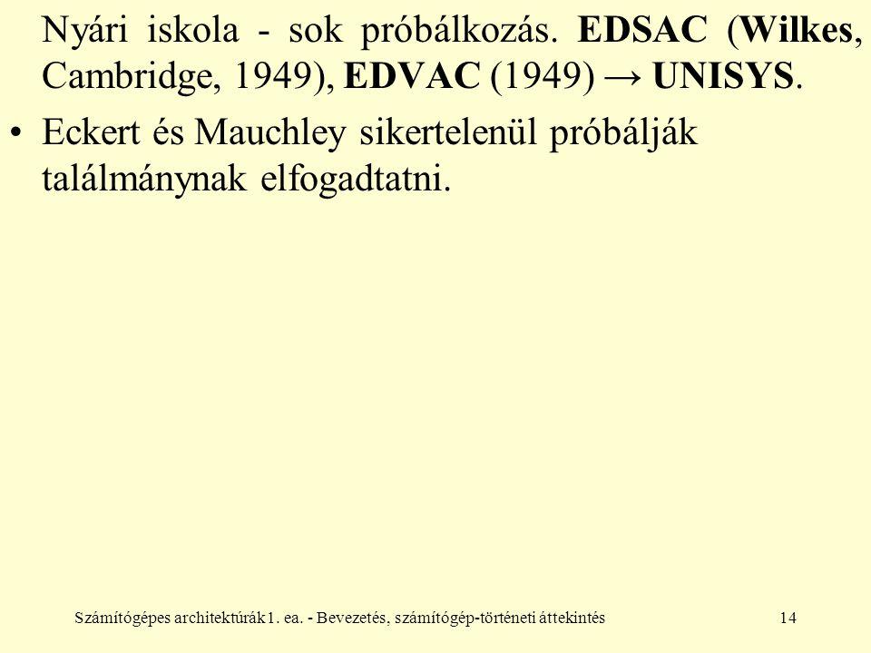 Számítógépes architektúrák1. ea. - Bevezetés, számítógép-történeti áttekintés14 Nyári iskola - sok próbálkozás. EDSAC (Wilkes, Cambridge, 1949), EDVAC