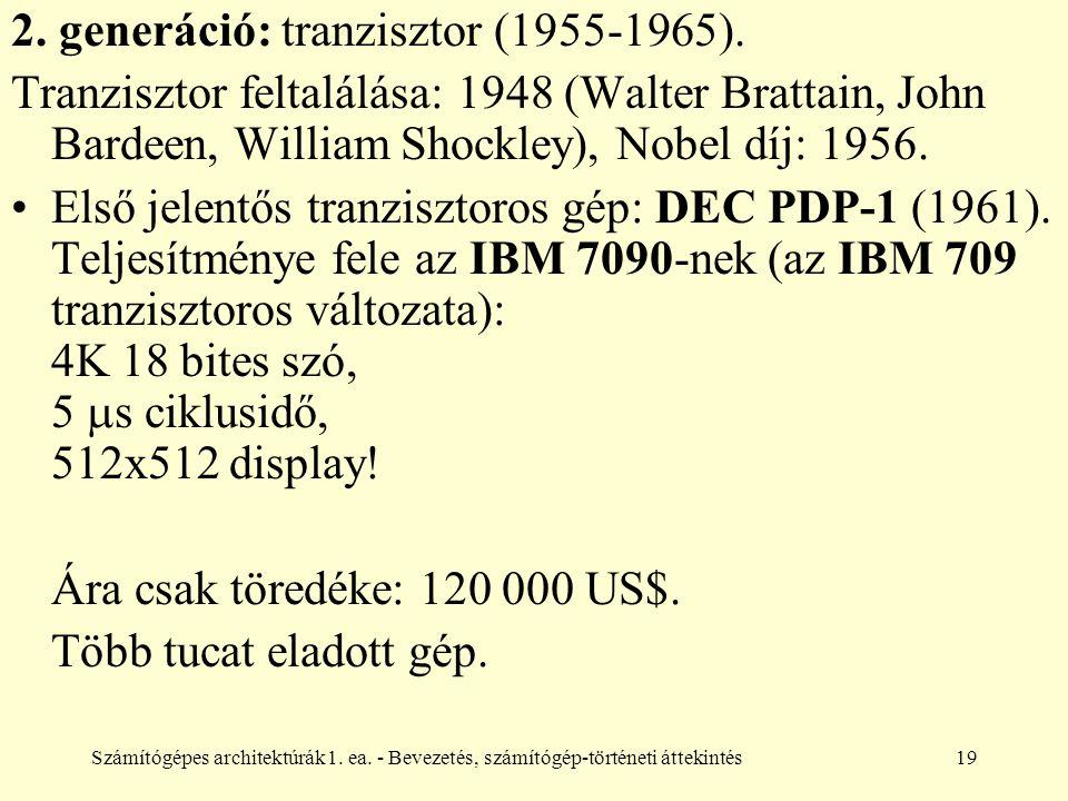 Számítógépes architektúrák1. ea. - Bevezetés, számítógép-történeti áttekintés19 2. generáció: tranzisztor (1955-1965). Tranzisztor feltalálása: 1948 (