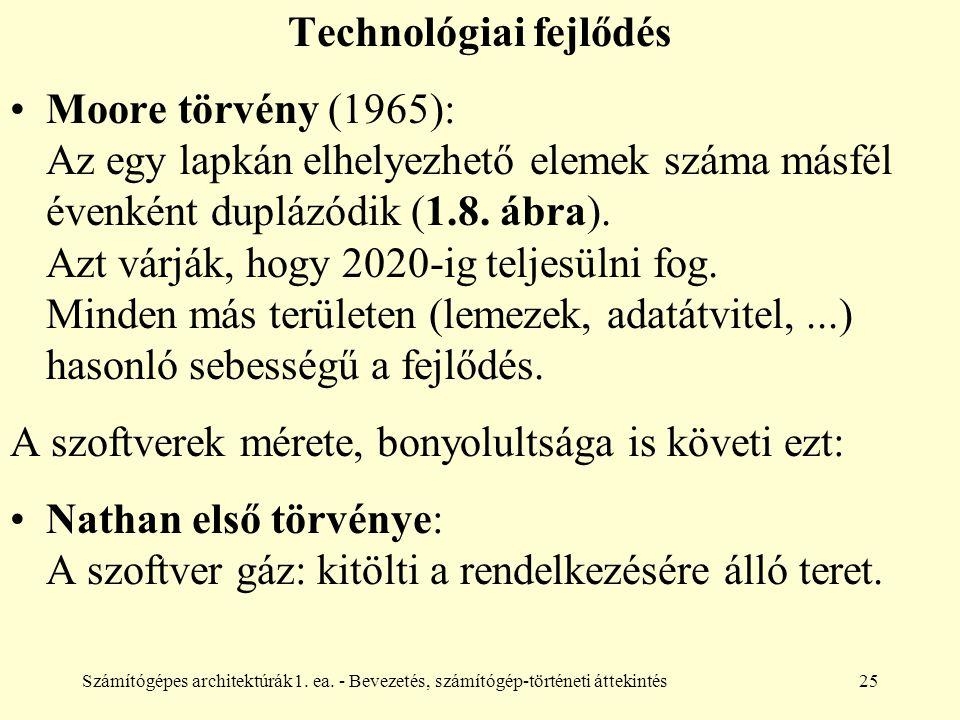 Számítógépes architektúrák1. ea. - Bevezetés, számítógép-történeti áttekintés25 Technológiai fejlődés Moore törvény (1965): Az egy lapkán elhelyezhető