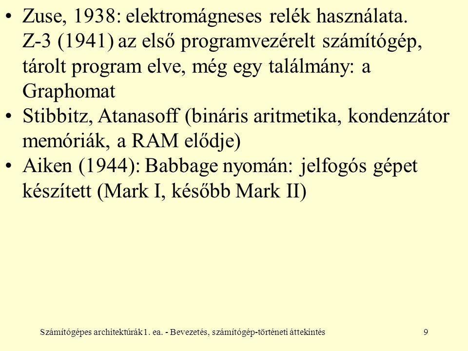 Számítógépes architektúrák1. ea. - Bevezetés, számítógép-történeti áttekintés9 Zuse, 1938: elektromágneses relék használata. Z-3 (1941) az első progra