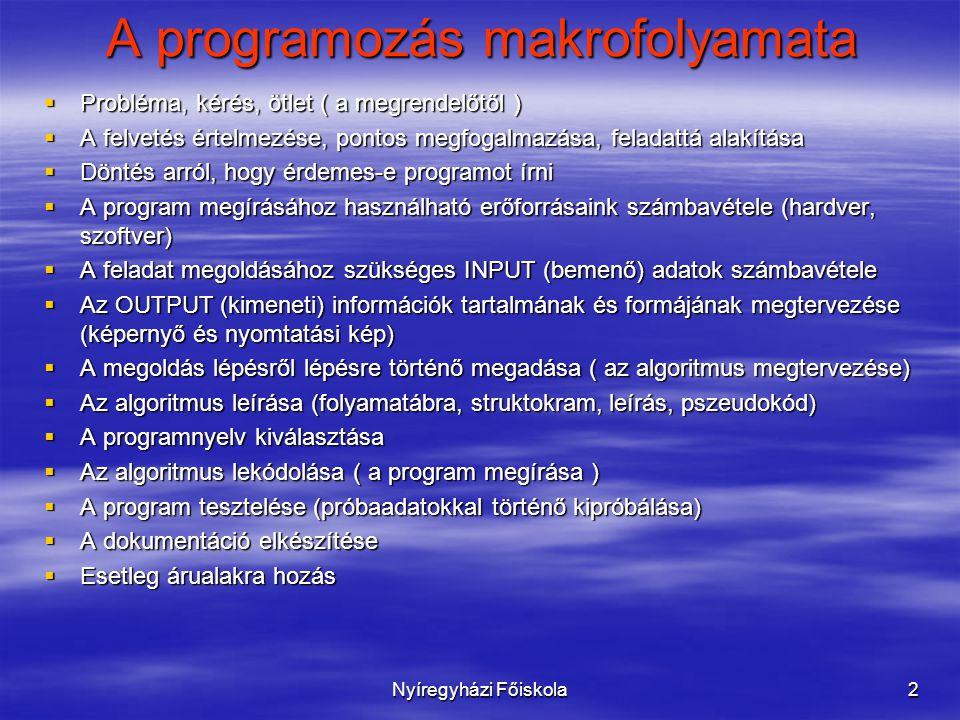 Nyíregyházi Főiskola2 A programozás makrofolyamata  Probléma, kérés, ötlet ( a megrendelőtől )  A felvetés értelmezése, pontos megfogalmazása, feladattá alakítása  Döntés arról, hogy érdemes-e programot írni  A program megírásához használható erőforrásaink számbavétele (hardver, szoftver)  A feladat megoldásához szükséges INPUT (bemenő) adatok számbavétele  Az OUTPUT (kimeneti) információk tartalmának és formájának megtervezése (képernyő és nyomtatási kép)  A megoldás lépésről lépésre történő megadása ( az algoritmus megtervezése)  Az algoritmus leírása (folyamatábra, struktokram, leírás, pszeudokód)  A programnyelv kiválasztása  Az algoritmus lekódolása ( a program megírása )  A program tesztelése (próbaadatokkal történő kipróbálása)  A dokumentáció elkészítése  Esetleg árualakra hozás