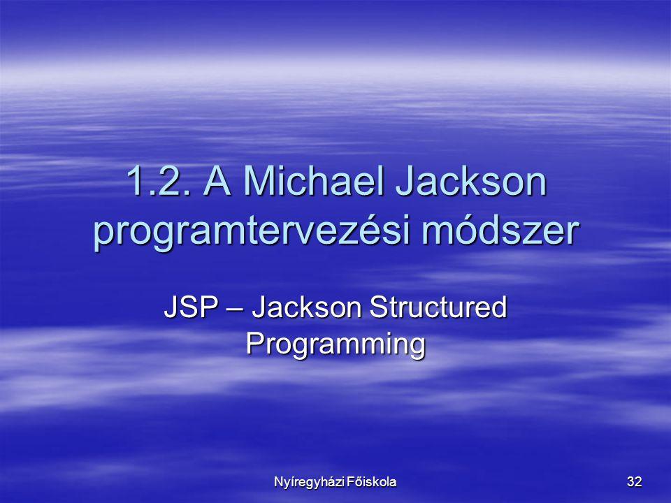 Nyíregyházi Főiskola 32 1.2. A Michael Jackson programtervezési módszer JSP – Jackson Structured Programming