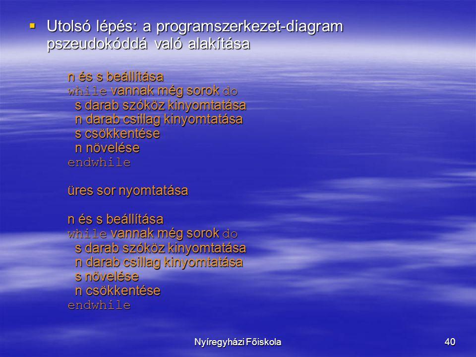 Nyíregyházi Főiskola40  Utolsó lépés: a programszerkezet-diagram pszeudokóddá való alakítása n és s beállítása while vannak még sorok do s darab szók