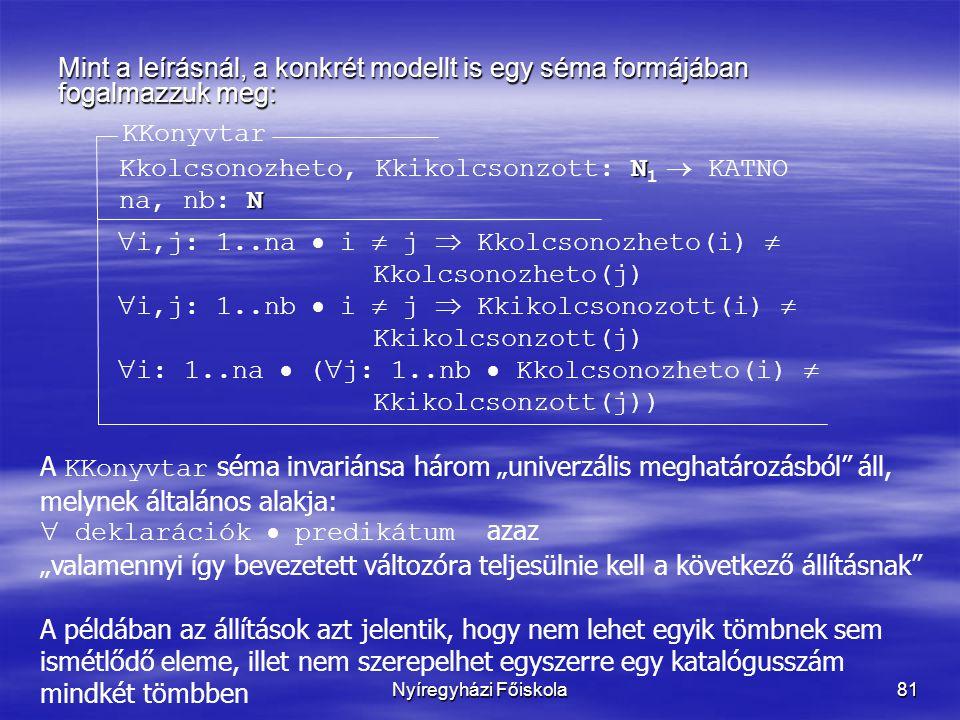 """Nyíregyházi Főiskola81 Mint a leírásnál, a konkrét modellt is egy séma formájában fogalmazzuk meg: KKonyvtar N Kkolcsonozheto, Kkikolcsonzott: N 1  KATNO N na, nb: N  i,j: 1..na  i  j  Kkolcsonozheto(i)  Kkolcsonozheto(j)  i,j: 1..nb  i  j  Kkikolcsonozott(i)  Kkikolcsonzott(j)  i: 1..na  (  j: 1..nb  Kkolcsonozheto(i)  Kkikolcsonzott(j)) A KKonyvtar séma invariánsa három """"univerzális meghatározásból áll, melynek általános alakja:  deklarációk  predikátum azaz """"valamennyi így bevezetett változóra teljesülnie kell a következő állításnak A példában az állítások azt jelentik, hogy nem lehet egyik tömbnek sem ismétlődő eleme, illet nem szerepelhet egyszerre egy katalógusszám mindkét tömbben"""