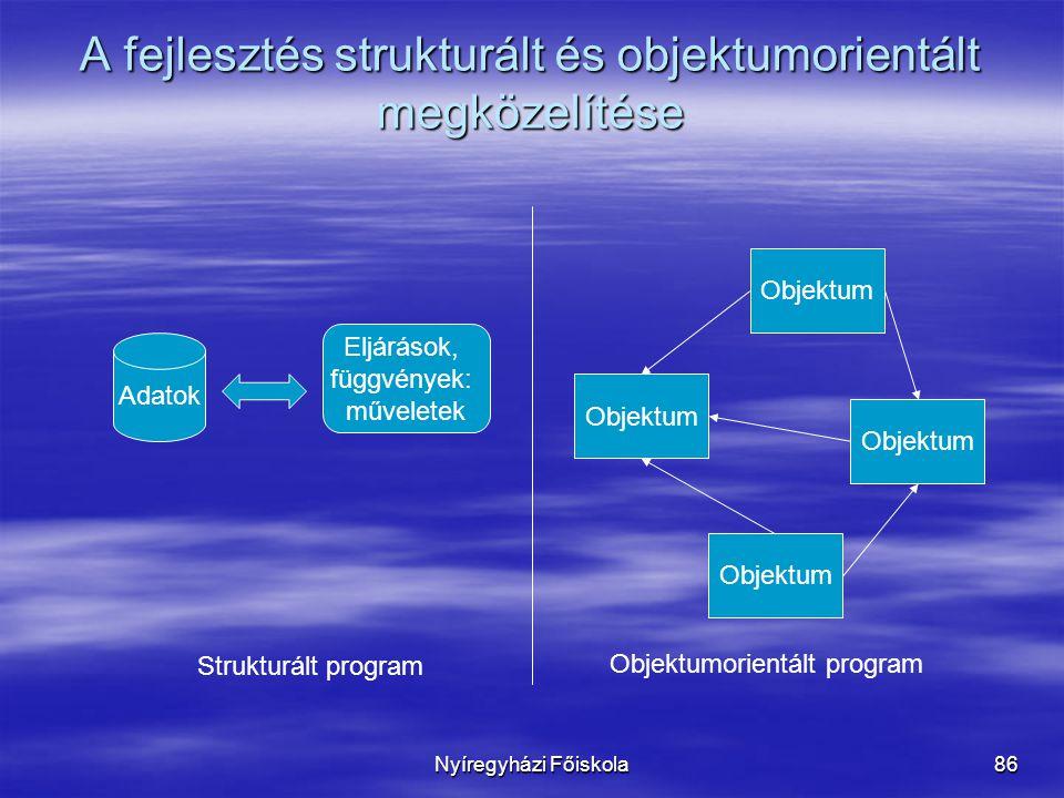 Nyíregyházi Főiskola86 A fejlesztés strukturált és objektumorientált megközelítése Adatok Eljárások, függvények: műveletek Objektum Strukturált program Objektumorientált program