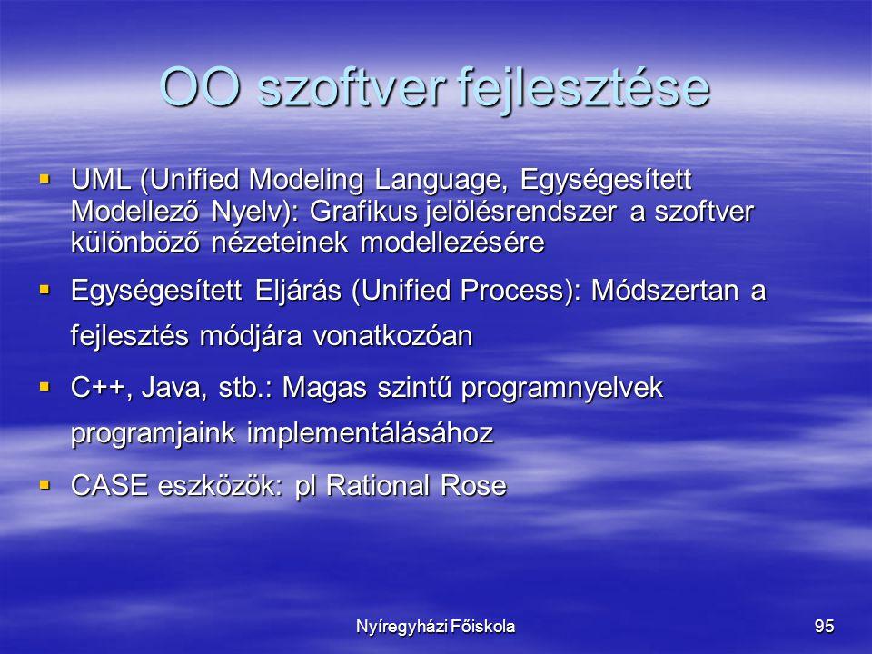 Nyíregyházi Főiskola95 OO szoftver fejlesztése  UML (Unified Modeling Language, Egységesített Modellező Nyelv): Grafikus jelölésrendszer a szoftver különböző nézeteinek modellezésére  Egységesített Eljárás (Unified Process): Módszertan a fejlesztés módjára vonatkozóan  C++, Java, stb.: Magas szintű programnyelvek programjaink implementálásához  CASE eszközök: pl Rational Rose
