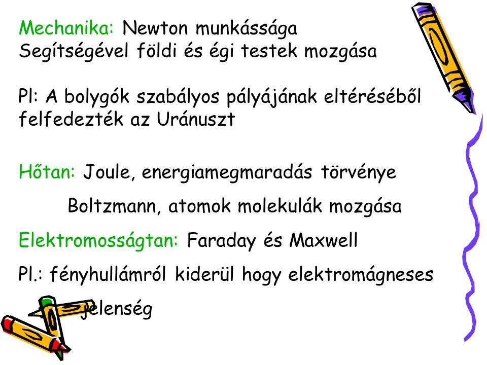 Mechanika: Newton munkássága Segítségével földi és égi testek mozgása Pl: A bolygók szabályos pályájának eltéréséből felfedezték az Uránuszt Hőtan: Joule, energiamegmaradás törvénye Boltzmann, atomok molekulák mozgása Elektromosságtan: Faraday és Maxwell Pl.: fényhullámról kiderül hogy elektromágneses jelenség