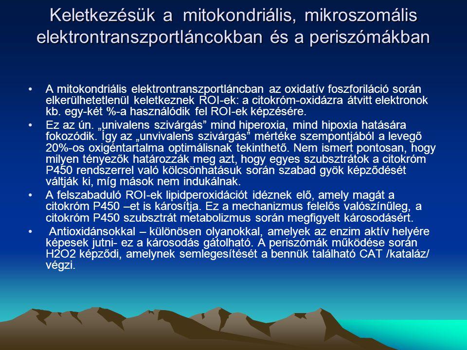Keletkezésük a mitokondriális, mikroszomális elektrontranszportláncokban és a periszómákban Keletkezésük a mitokondriális, mikroszomális elektrontranszportláncokban és a periszómákban A mitokondriális elektrontranszportláncban az oxidatív foszforiláció során elkerülhetetlenül keletkeznek ROI-ek: a citokróm-oxidázra átvitt elektronok kb.