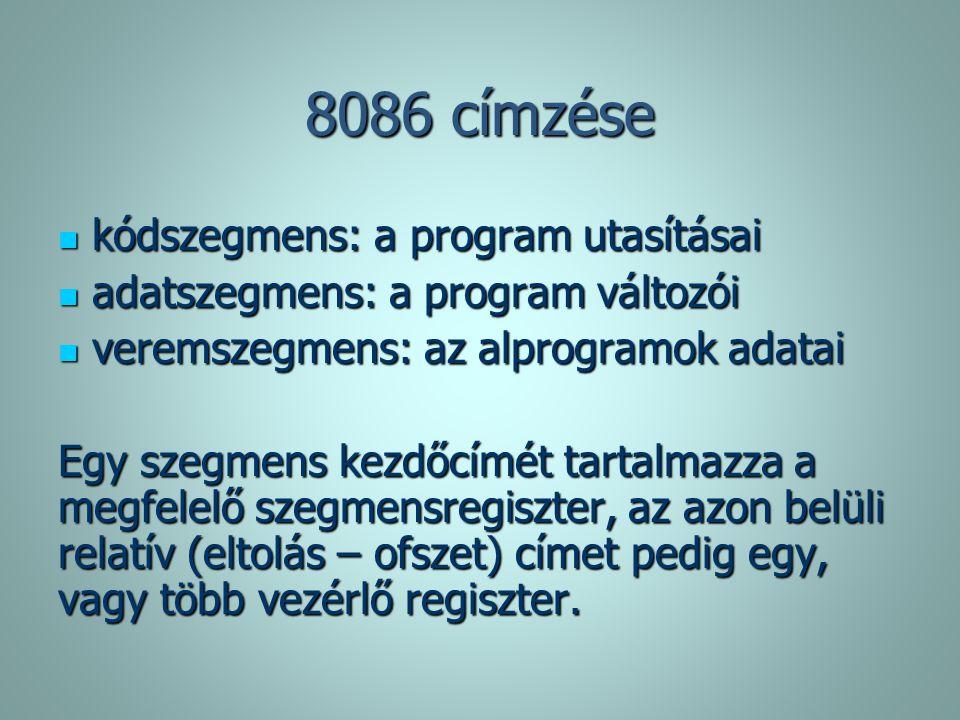 8086 címzése kódszegmens: a program utasításai kódszegmens: a program utasításai adatszegmens: a program változói adatszegmens: a program változói ver