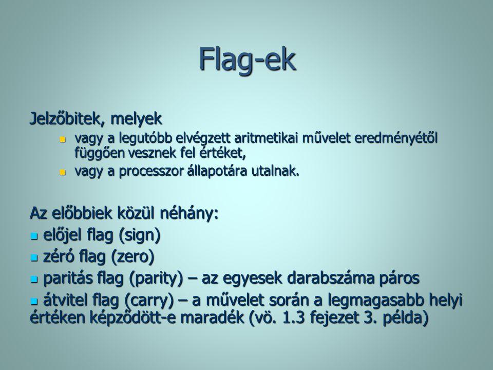 Flag-ek Jelzőbitek, melyek vagy a legutóbb elvégzett aritmetikai művelet eredményétől függően vesznek fel értéket, vagy a legutóbb elvégzett aritmetik