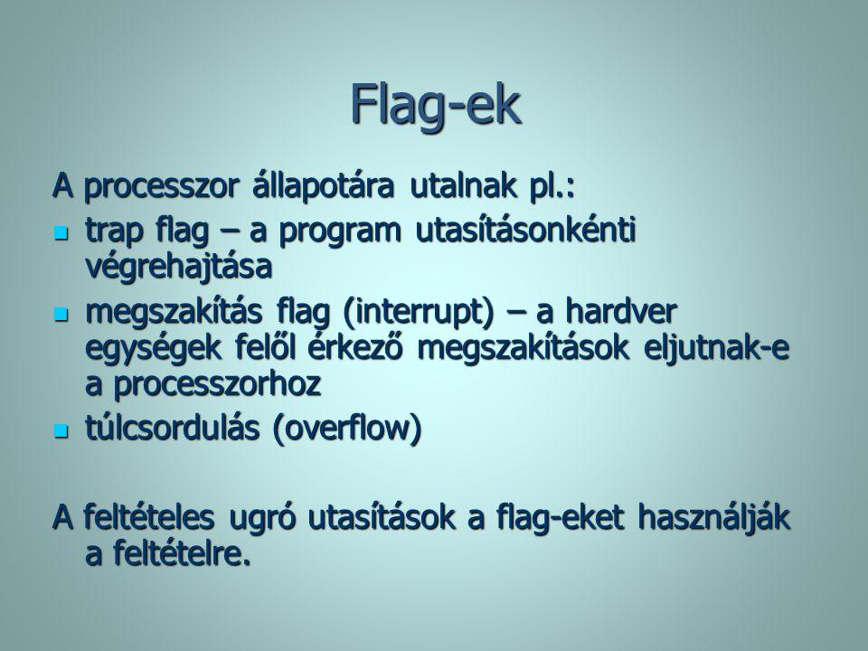 Flag-ek A processzor állapotára utalnak pl.: trap flag – a program utasításonkénti végrehajtása trap flag – a program utasításonkénti végrehajtása meg