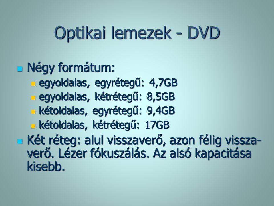 Optikai lemezek - DVD Négy formátum: Négy formátum: egyoldalas, egyrétegű: 4,7GB egyoldalas, egyrétegű: 4,7GB egyoldalas, kétrétegű: 8,5GB egyoldalas,