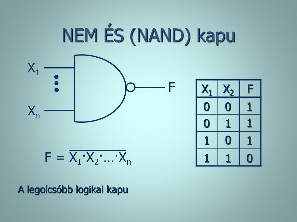 NEM ÉS (NAND) kapu X1X1 F = X 1 ·X 2 ·…·X n F XnXn X1X1X1X1 X2X2X2X2F 0 0 1 1 1 0 1 0 1 0 1 1 A legolcsóbb logikai kapu