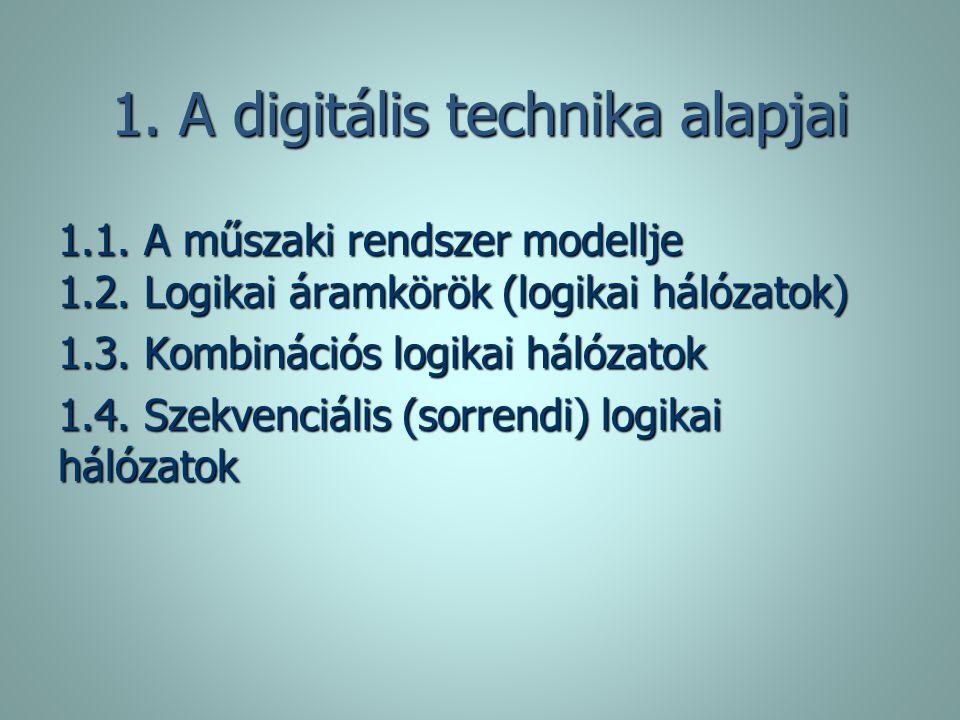1. A digitális technika alapjai 1.1. A műszaki rendszer modellje 1.2. Logikai áramkörök (logikai hálózatok) 1.3. Kombinációs logikai hálózatok 1.4. Sz