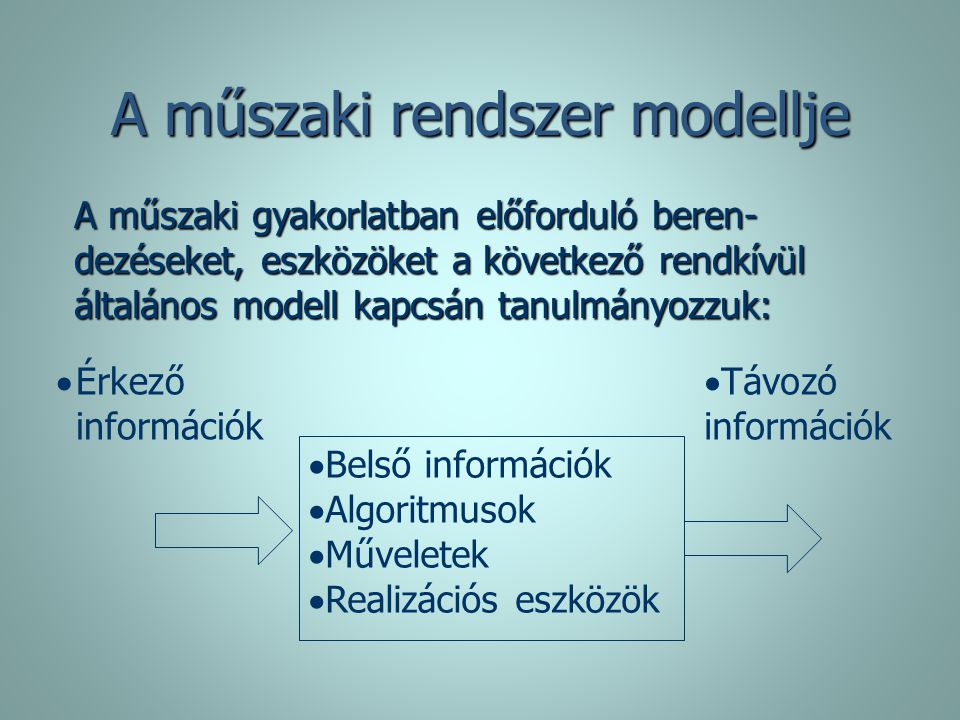   Távozó információk   Belső információk   Algoritmusok   Műveletek   Realizációs eszközök   Érkező információk A műszaki rendszer modellj