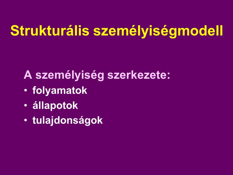 Strukturális személyiségmodell A személyiség szerkezete: folyamatok állapotok tulajdonságok