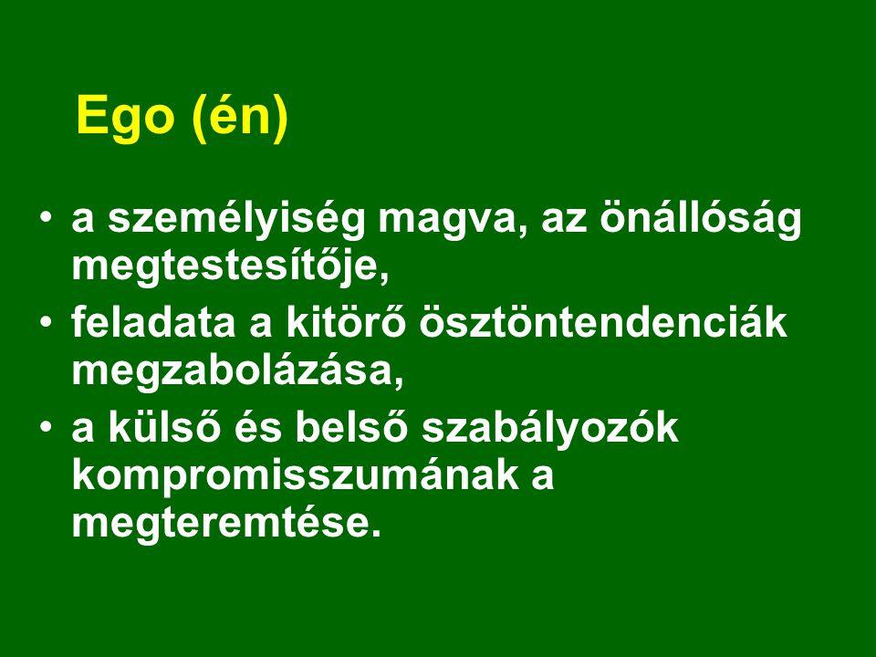 Ego (én) a személyiség magva, az önállóság megtestesítője, feladata a kitörő ösztöntendenciák megzabolázása, a külső és belső szabályozók kompromisszu