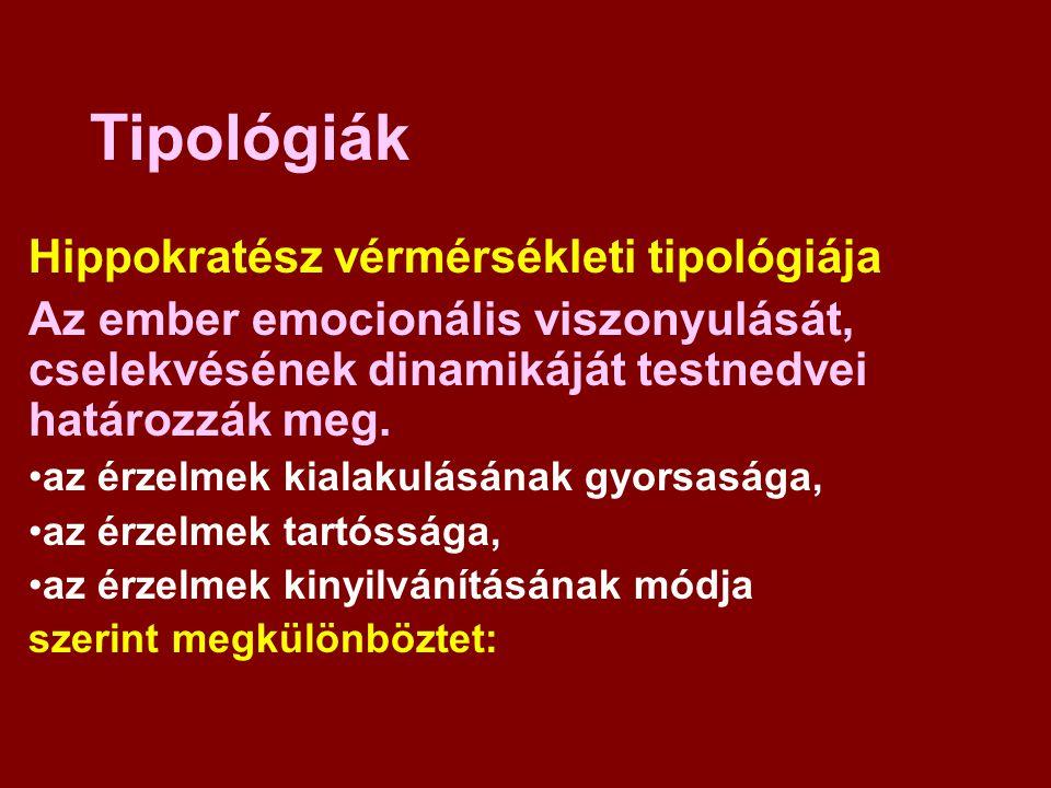 Tipológiák Hippokratész vérmérsékleti tipológiája Az ember emocionális viszonyulását, cselekvésének dinamikáját testnedvei határozzák meg. az érzelmek