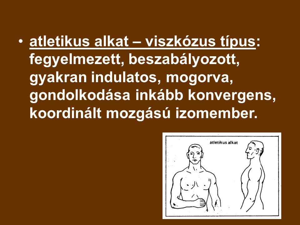 atletikus alkat – viszkózus típus: fegyelmezett, beszabályozott, gyakran indulatos, mogorva, gondolkodása inkább konvergens, koordinált mozgású izomem