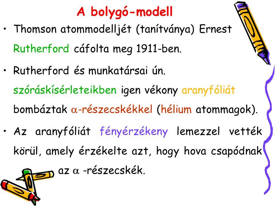 A bolygó-modell Thomson atommodelljét (tanítványa) Ernest Rutherford cáfolta meg 1911-ben. Rutherford és munkatársai ún. szóráskísérleteikben igen vék