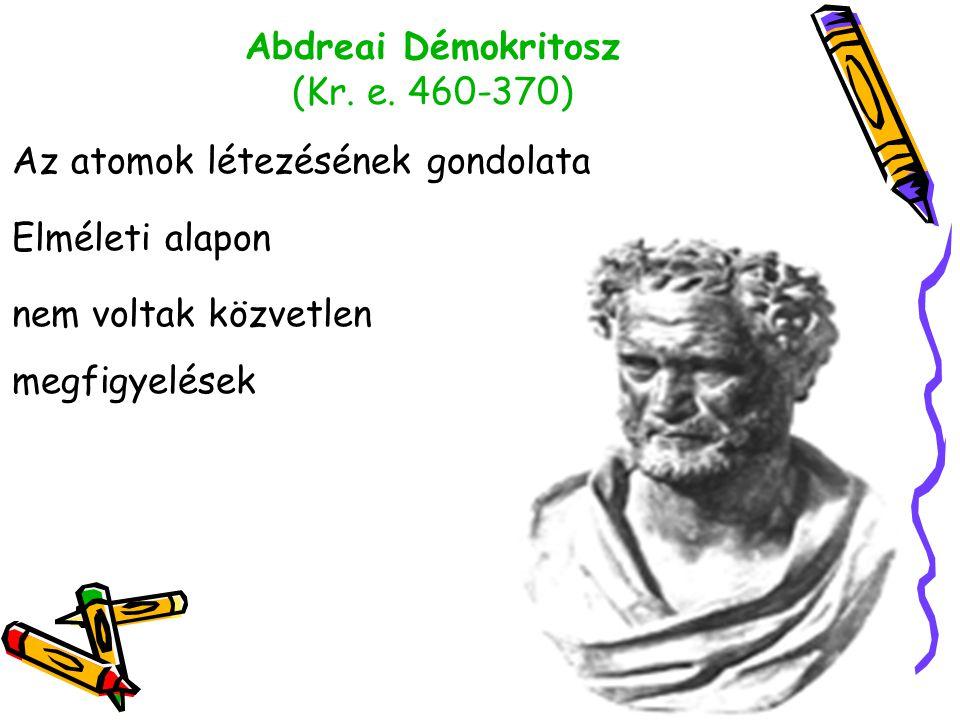 Abdreai Démokritosz (Kr. e. 460-370) Az atomok létezésének gondolata Elméleti alapon nem voltak közvetlen megfigyelések