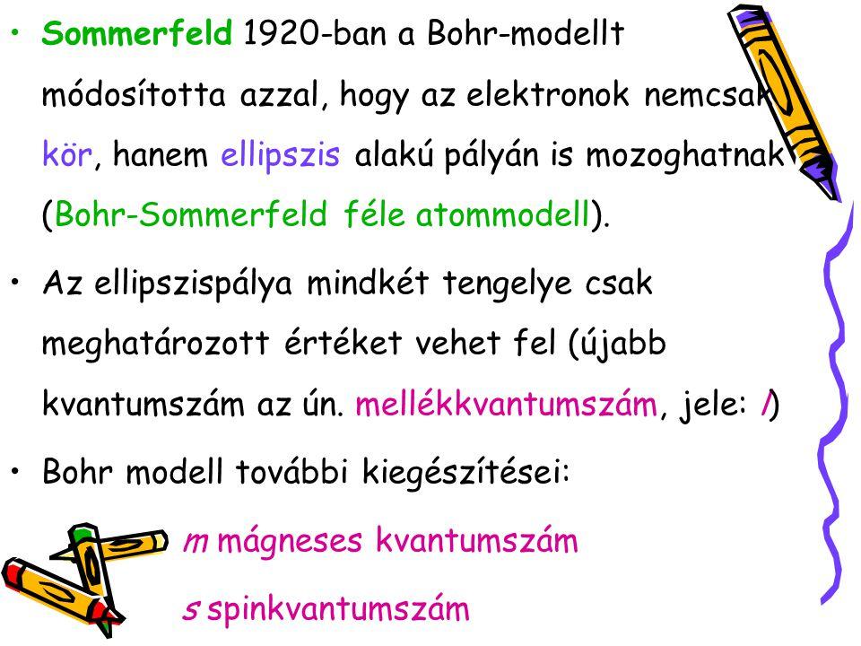 Sommerfeld 1920-ban a Bohr-modellt módosította azzal, hogy az elektronok nemcsak kör, hanem ellipszis alakú pályán is mozoghatnak (Bohr-Sommerfeld fél