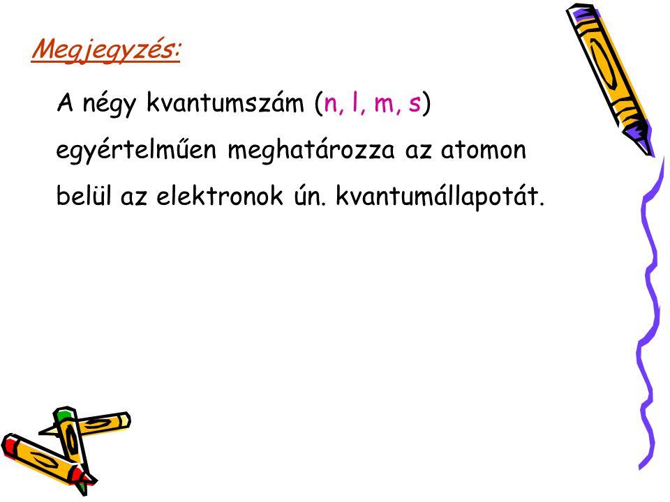 Megjegyzés: A négy kvantumszám (n, l, m, s) egyértelműen meghatározza az atomon belül az elektronok ún. kvantumállapotát.