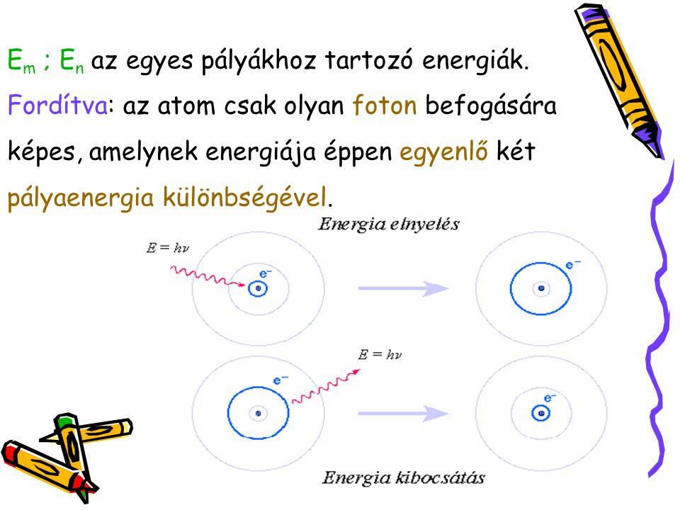 E m ; E n az egyes pályákhoz tartozó energiák. Fordítva: az atom csak olyan foton befogására képes, amelynek energiája éppen egyenlő két pályaenergia