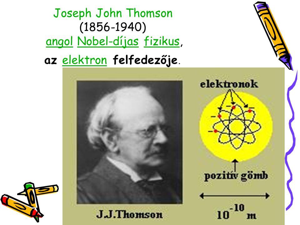 Joseph John Thomson (1856-1940) angol Nobel-díjas fizikus, az elektron felfedezője.angolNobel-díjasfizikuselektron