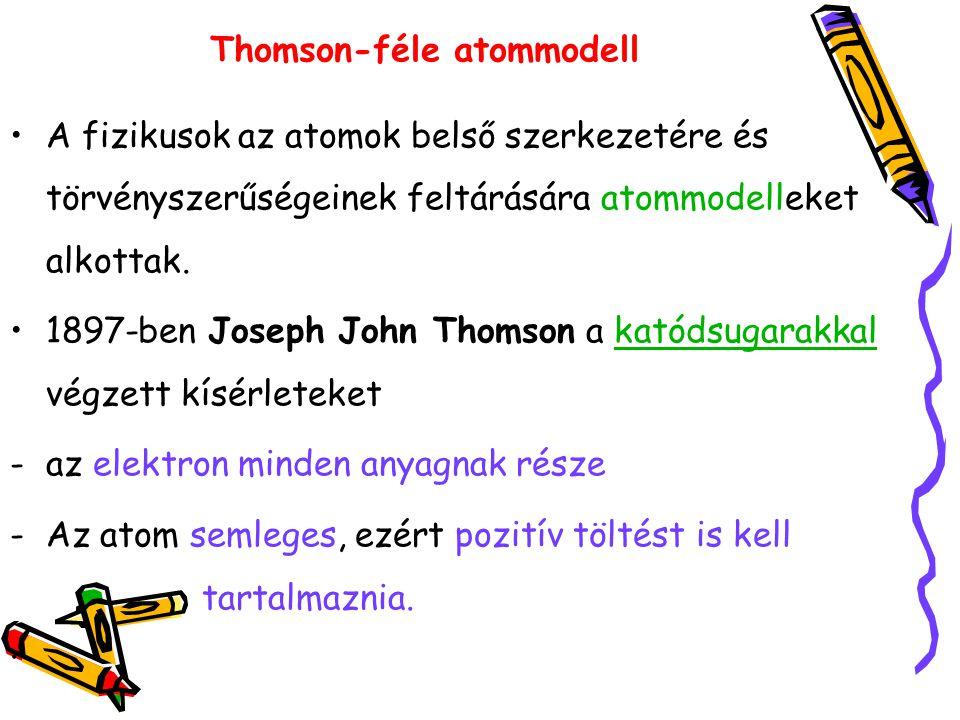 Thomson-féle atommodell A fizikusok az atomok belső szerkezetére és törvényszerűségeinek feltárására atommodelleket alkottak. 1897-ben Joseph John Tho