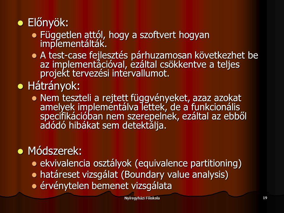 Nyíregyházi Főiskola 19 Előnyök: Előnyök: Független attól, hogy a szoftvert hogyan implementálták.