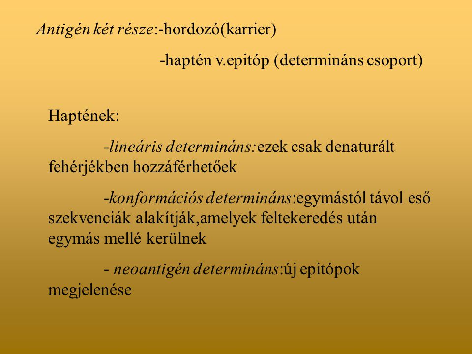 Antigén két része:-hordozó(karrier) -haptén v.epitóp (determináns csoport) Haptének: -lineáris determináns:ezek csak denaturált fehérjékben hozzáférhe