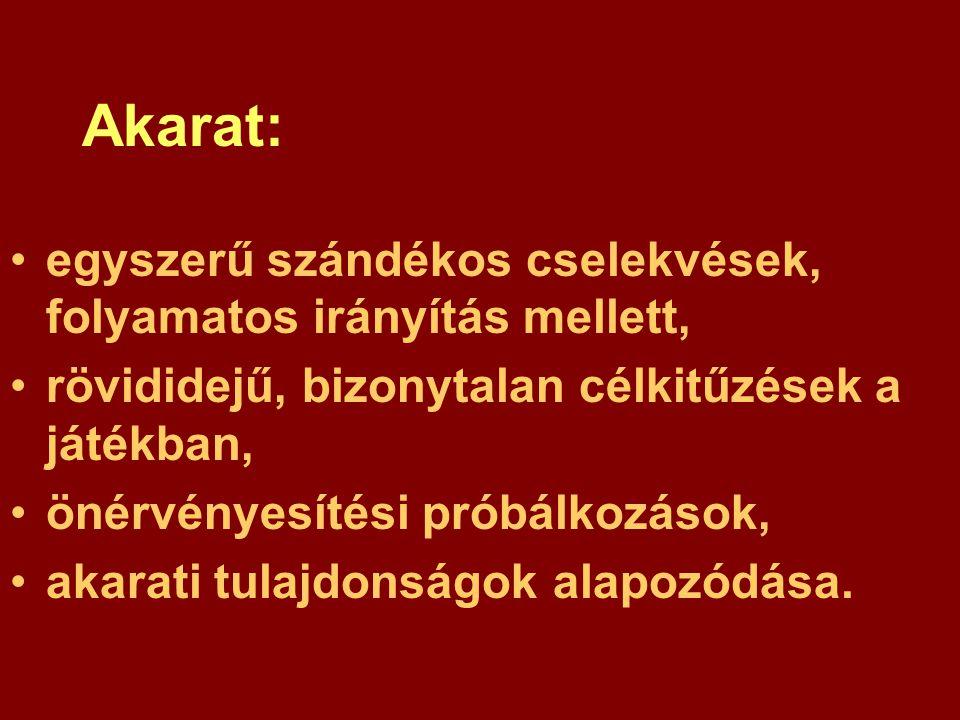 Akarat: egyszerű szándékos cselekvések, folyamatos irányítás mellett, rövididejű, bizonytalan célkitűzések a játékban, önérvényesítési próbálkozások, akarati tulajdonságok alapozódása.