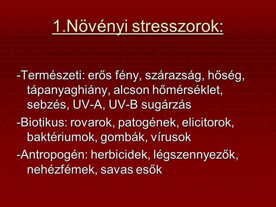 1.Növényi stresszorok: -Természeti: erős fény, szárazság, hőség, tápanyaghiány, alcson hőmérséklet, sebzés, UV-A, UV-B sugárzás -Biotikus: rovarok, pa