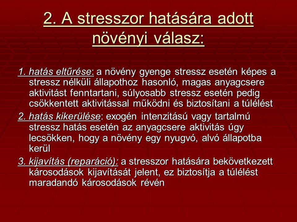 2. A stresszor hatására adott növényi válasz: 1. hatás eltűrése: a növény gyenge stressz esetén képes a stressz nélküli állapothoz hasonló, magas anya