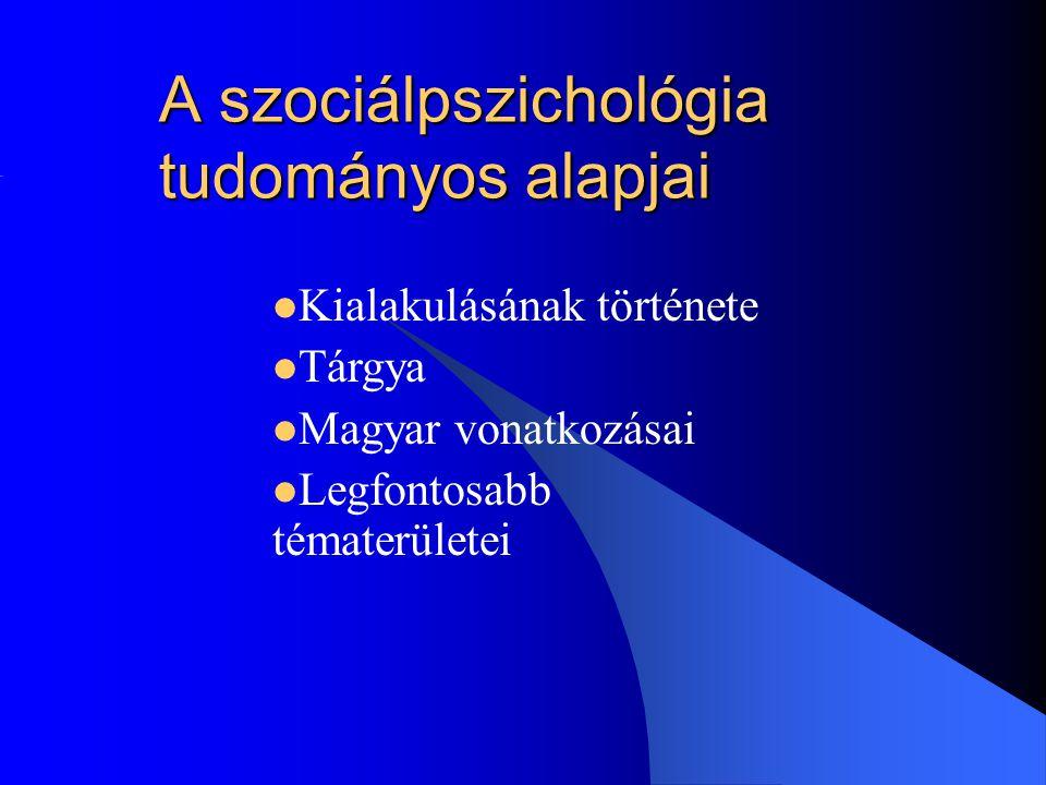 A szociálpszichológia tudományos alapjai Kialakulásának története Tárgya Magyar vonatkozásai Legfontosabb tématerületei