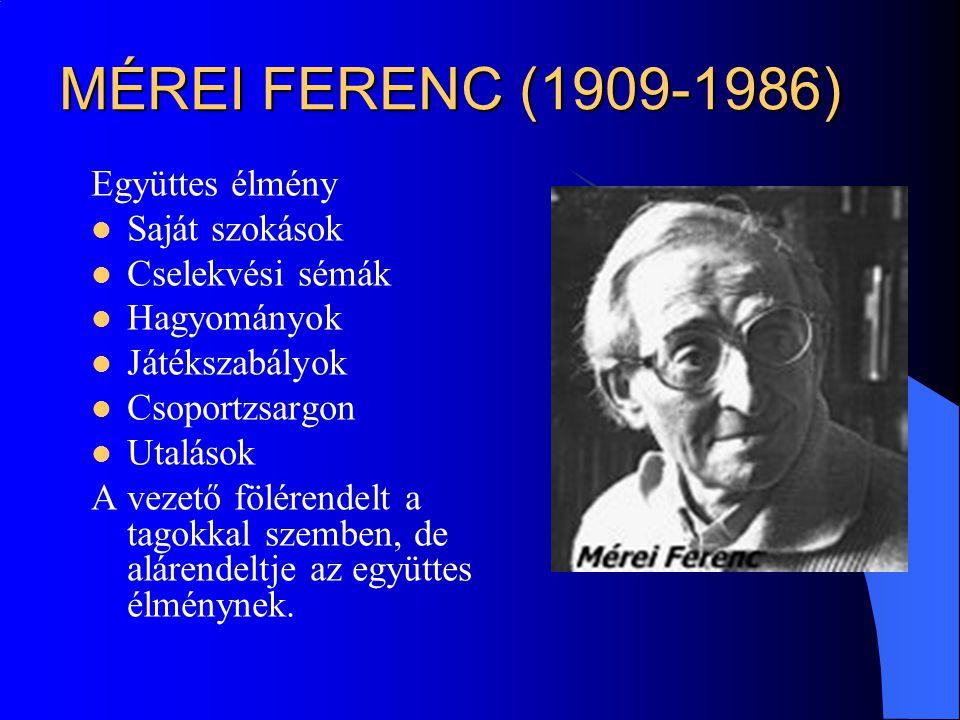 MÉREI FERENC (1909-1986) Együttes élmény Saját szokások Cselekvési sémák Hagyományok Játékszabályok Csoportzsargon Utalások A vezető fölérendelt a tag