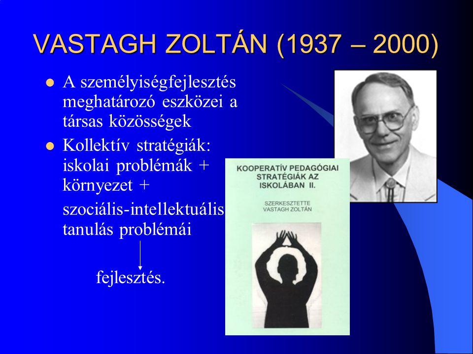 VASTAGH ZOLTÁN (1937 – 2000) A személyiségfejlesztés meghatározó eszközei a társas közösségek Kollektív stratégiák: iskolai problémák + környezet + sz