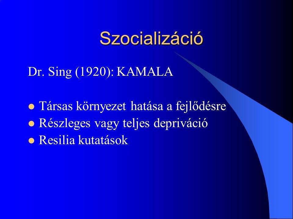 Szocializáció Dr. Sing (1920): KAMALA Társas környezet hatása a fejlődésre Részleges vagy teljes depriváció Resilia kutatások