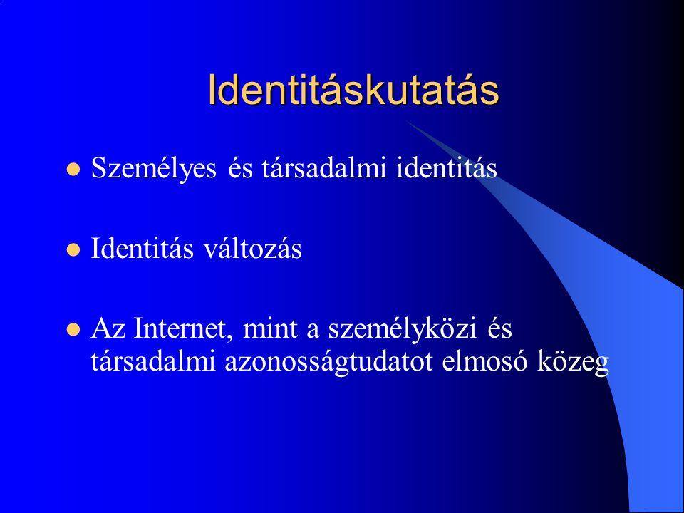 Identitáskutatás Személyes és társadalmi identitás Identitás változás Az Internet, mint a személyközi és társadalmi azonosságtudatot elmosó közeg