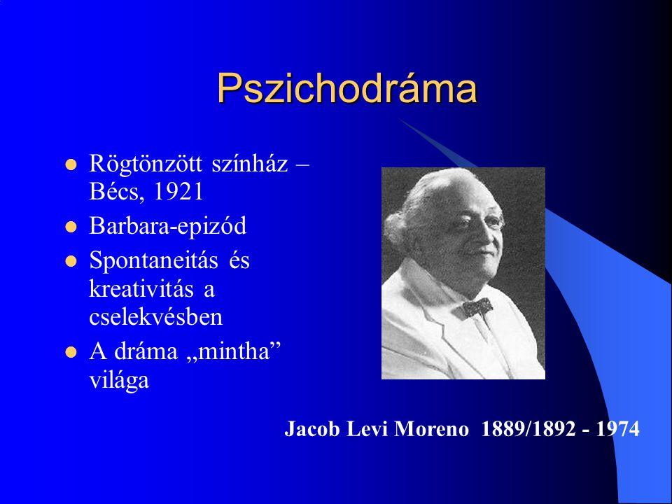 """Pszichodráma Rögtönzött színház – Bécs, 1921 Barbara-epizód Spontaneitás és kreativitás a cselekvésben A dráma """"mintha"""" világa Jacob Levi Moreno 1889/"""